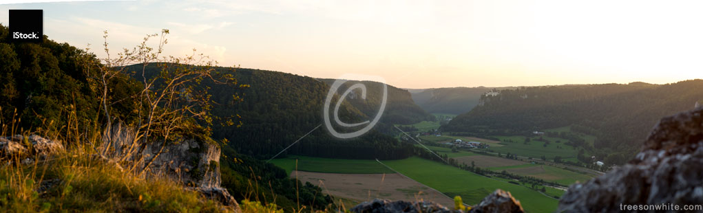 Panoramic view of Upper Danube Nature Valley in Germany, from-above.