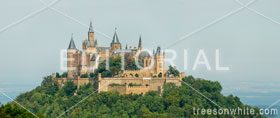 Hohenzollern castle in the Swabian Alps foothills of the of central Baden-Württemberg.