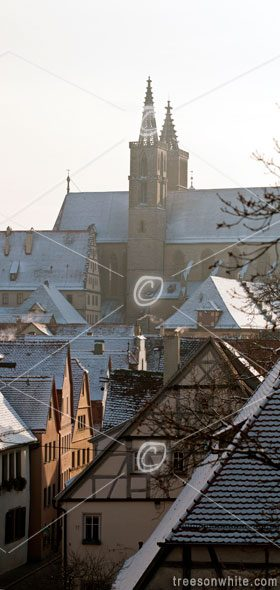German city of Rothenburg o.d. Tauber in_winter with snowy rooft