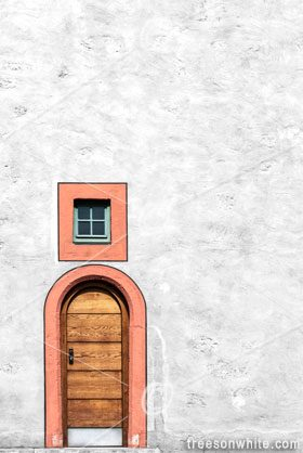 Wall with old, wooden door and window in Germany(historic plaster-facade).