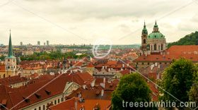 Prague panoramic view of the city with Church St.Nicholas.