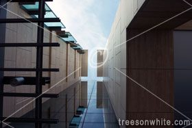 Modern building close-up showing reflection cross.
