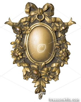 Ornamental picture frame for an oval portrait from bookcover