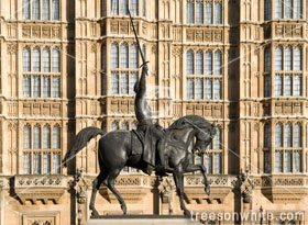 Horse figure in frontOf the House Of Parliament /London.