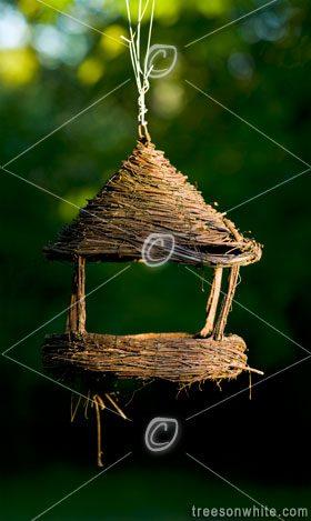 Empty bird feeding house in spring / shallow DOF.