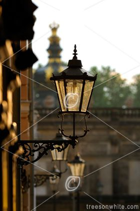 Lantern in Dresden Old Town with Zwinger background.