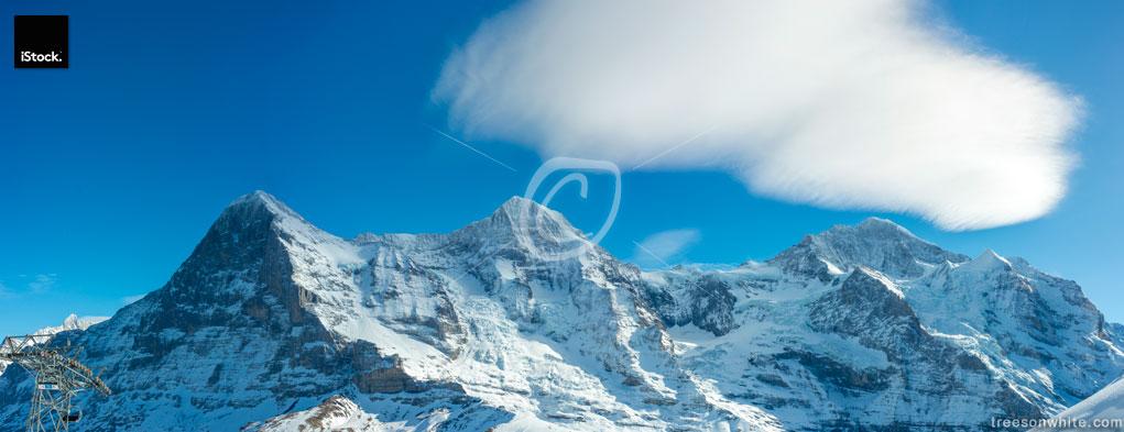 Eiger North Face, Jungfraujoch and Jungfrau panorama.